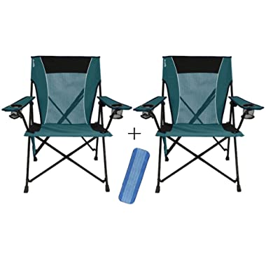 Kijaro Dual Lock Portable Camping and Sports Chair (Cayman Blue Iguana, 2-Pack) + Cleaning Pad