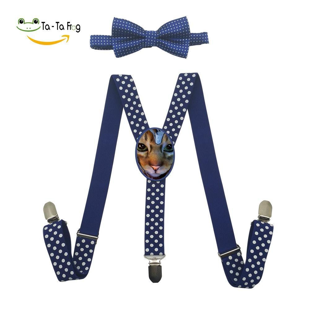 Xiacai Cat Hero Suspender/&Bow Tie Set Adjustable Clip-On Y-Suspender Boys