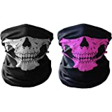 GAMPRO Breathable Seamless Tube Skull Face Mask, Dust-proof Windproof Motorcycle Bicycle Bike Face Mask for Cycling, Hiking, Camping, Climbing, Fishing, Hunting, Motorcycling (Black&Pink)