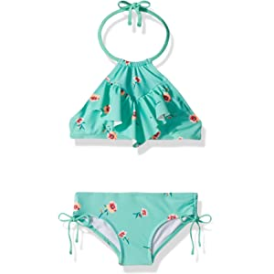 cb88565e1d89f Amazon.com: Kanu Surf Toddler Girls' Morgan Ruffle Halter Bikini 2-Piece  Swimsuit, Pink, 2T, Aqua Floral: Clothing