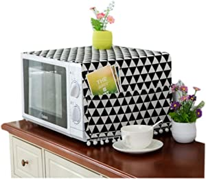 Mvchifay Microwave Oven Cover Dustproof Cotton Machine Protector Decorative Kitchen Appliance Cover with Side Storage Pockets 11.8x35.4inches (Black Triangle)