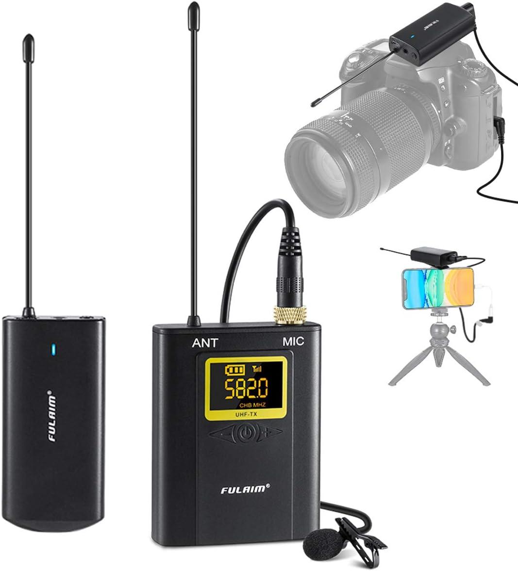 FULAIM WM300 Sistema de Micrófono Lavalier Inalámbrico Omnidireccional UHF de 20 Canales para iPhone Android Smartphone, Grabar Youtube, Entrevista, Estudio, Vídeo - 1TX