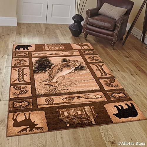 Allstar 5×7 Mocha Cabin Rectangular Accent Rug with Chocolate and Espresso Bordered Wildlife Bear, Moose and Fish Design 5 2 x 7 1