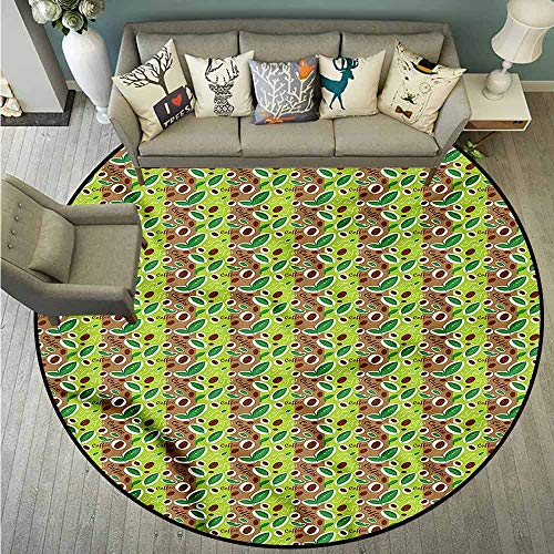 - Living Room Area Round Rugs,Coffee,Fresh Tea Leaves and Beans,Super Absorbs Mud,4'11