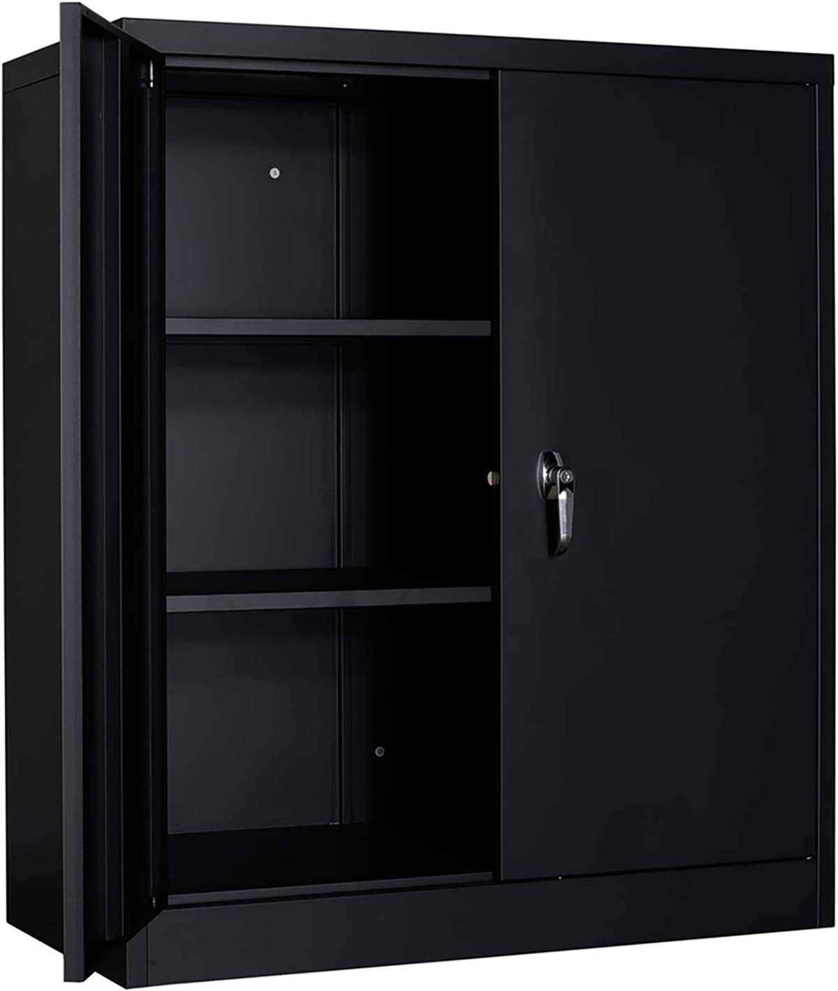 """GREATMEET Metal Cabinets Storage with 2 Adjustable Shelves, Steel Storage Cabinet,36""""L x 18""""W x 41.6""""H,Metal Storage Cabinet with 2 Swing Doors, Counter Height Cabinet Cupboards for Home Office,Black"""
