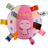 Baby Soft Plush Sensory Toys Built-in Bell Gift Ball - Educational Stuffed Rattle Balls for Baby Gifts Sensory Ball Comfort Toy with Colorful Tags - For 6 months above Babies & Toddlers, Cute Angle