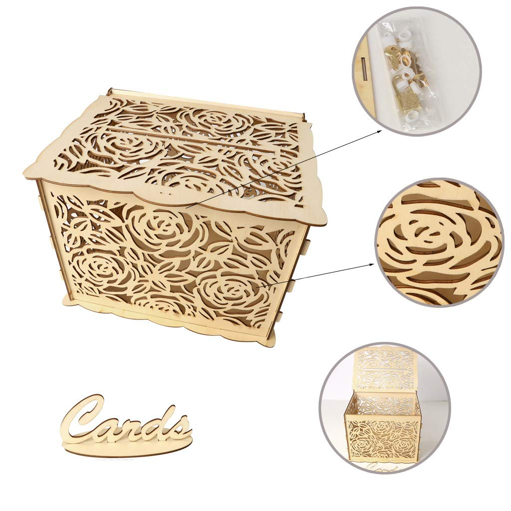 Karooch Wooden Hollow Wedding Card Box With Lock DIY Gift Holder Home Decoration For Birthday Party Baby Showers Graduations 1181x 944 X 887inch