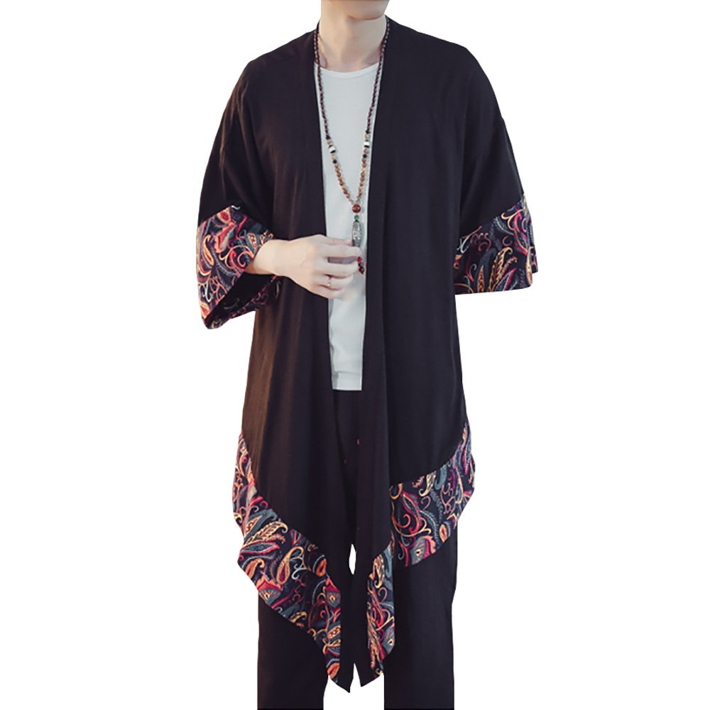Hao Run Men Japanese Kimono Cardigan Long Yukata Coat Cotton Linen Colorblock Retro Top