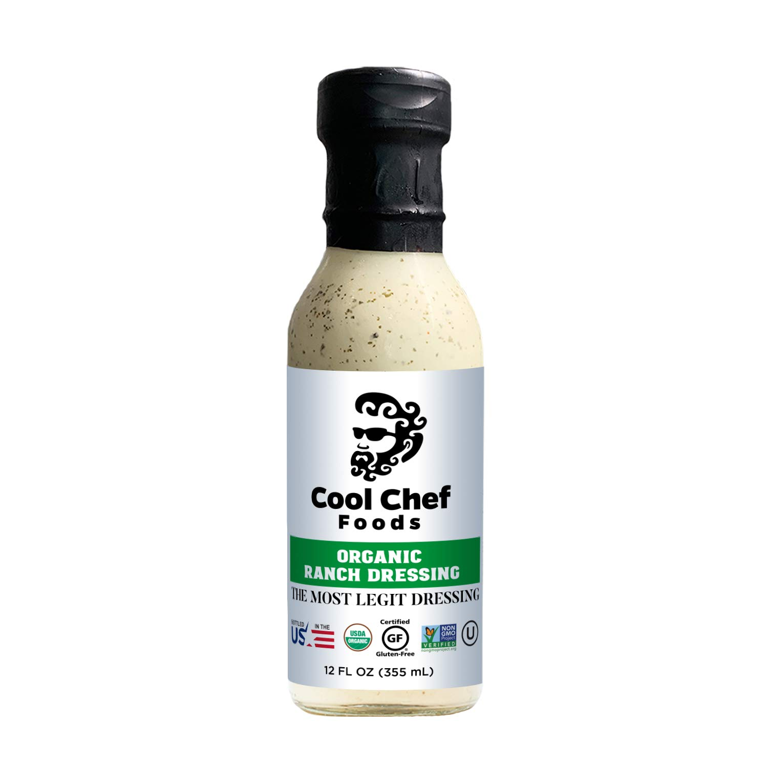 Cool Chef Foods - Organic Ranch Dressing - Non-GMO - Bottled in the USA - Gluten-Free - Dairy-Free - Kosher & Low-Carb - 12 FL OZ (355 ML) Bottle