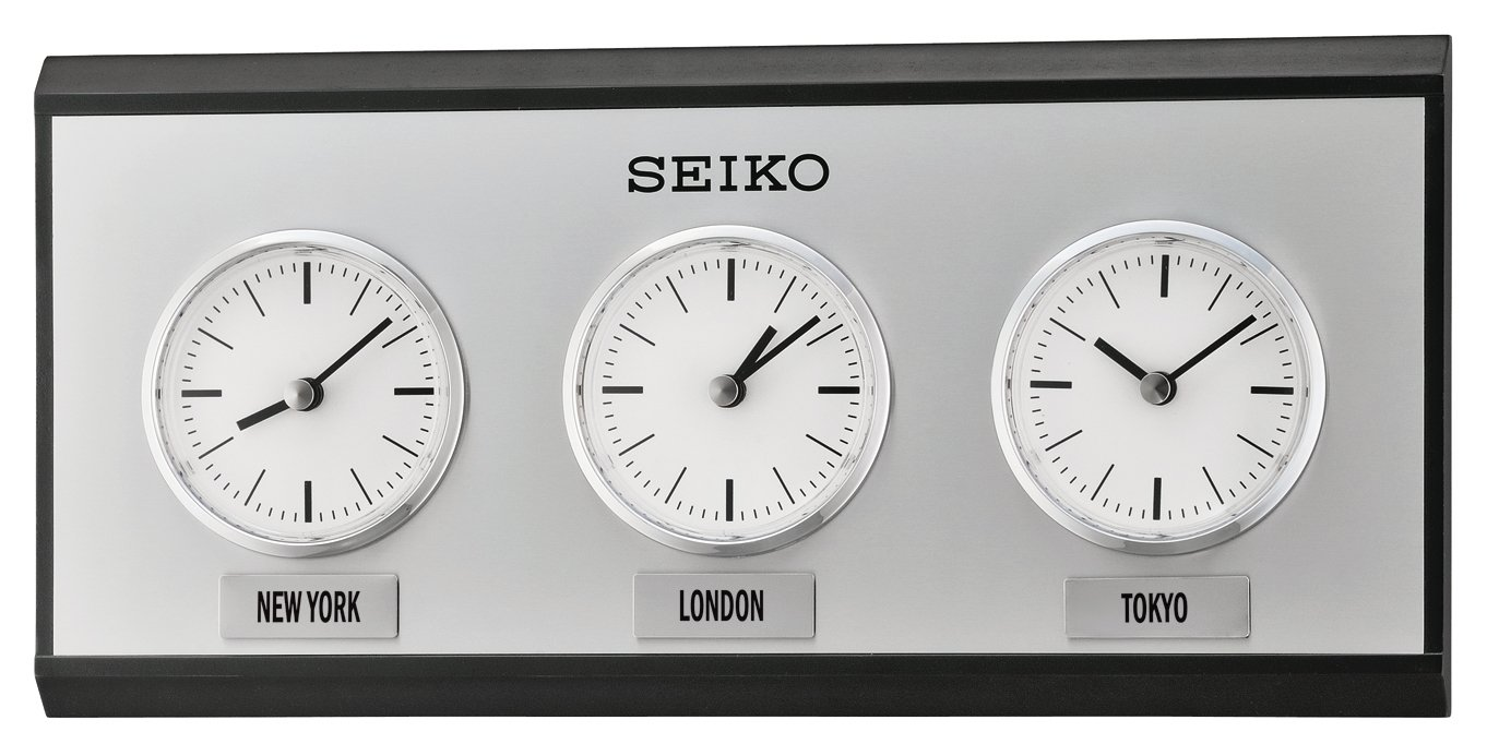 Seiko wooden chrome mantle or wall clock with three time zones seiko wooden chrome mantle or wall clock with three time zones qxa623k amazon kitchen home amipublicfo Image collections