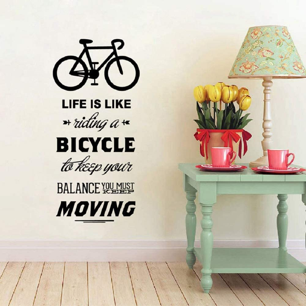 Inspiring Life is Like Riding A Bicycle Quote Bike Wall Sticker Cycling Words Vinyl Bike Wall Art Decal Room Sticker Home Decoration