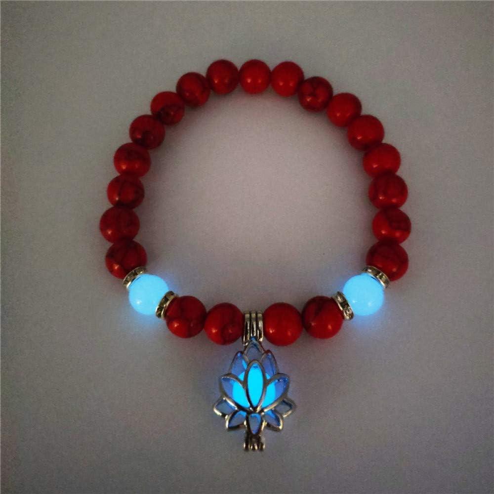 ZMMZYY Pulsera Piedra,Moda Rojo Luminoso Natural de Piedra volcánica Lotus Pulseras Hombre Mujer resplandecientes Joyas Accesorio clásico