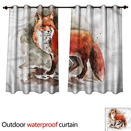 Amazon.com: cobeDecor Fox Outdoor Curtains for Patio Sheer ...