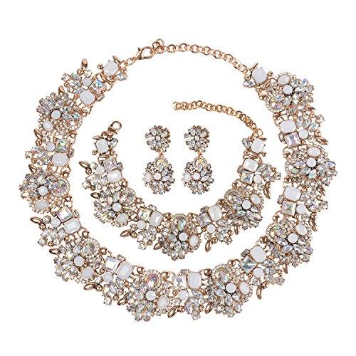 Holylove Stuning White Color Vintage Statement Choker Necklace& Bracelet & Earings 3 PCS (Earrings And Bracelet Set)