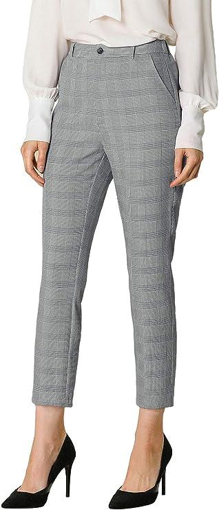Allegra K M rayé plat mittelhoh Chino Court Pantalon