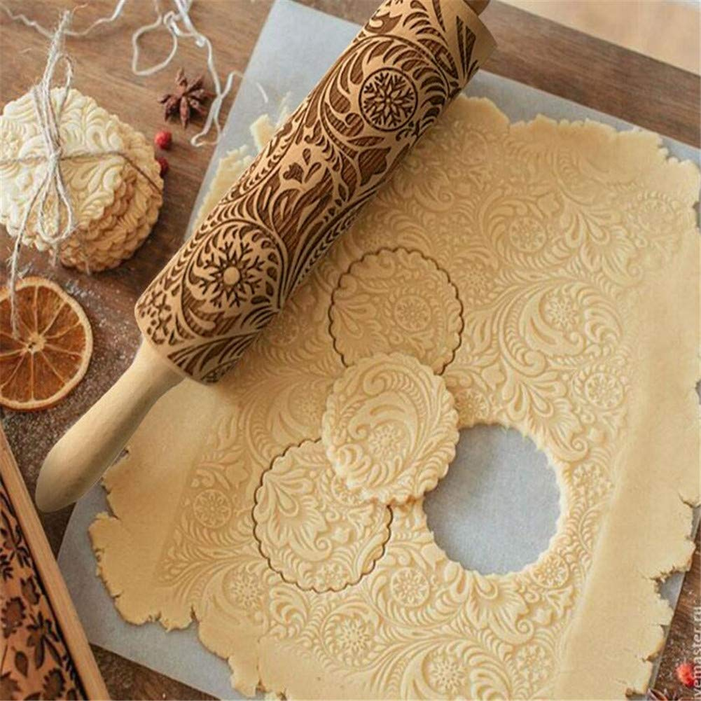 35cm Unique WElinks Snowflake Flower Wooden Rolling Pin Christmas Laser Engraved Rolling Pin Xmas Embossing Roller Pin Printed Embossed Rolling Pin for Fondant Pizza Cookie Pie Cake Baking New Year