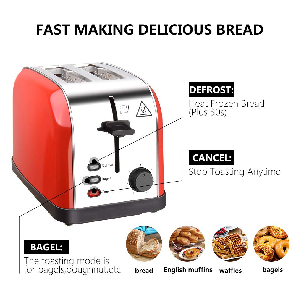 Toaster 2 Slice Toasters Best Rated Prime Extra Wide Slots Compact Stainless Steel with Defrost Reheat Cancel Button High Lift Lever Toaster's Removable Crumb Tray Quickly Toast for Bread&Bagel by Evening (Image #4)