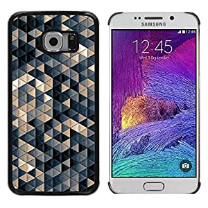 FECELL CITY // Duro Aluminio Pegatina PC Caso decorativo Funda Carcasa de Protección para Samsung Galaxy S6 EDGE SM-G925 // Pastel Beige 3D Pattern