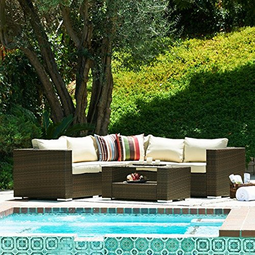 Luxury Biggers Backyard Kessler Home 4 Piece Patio Set Sectional Seating Group with Deep Cushion Furniture from STS SUPPLIES LTD