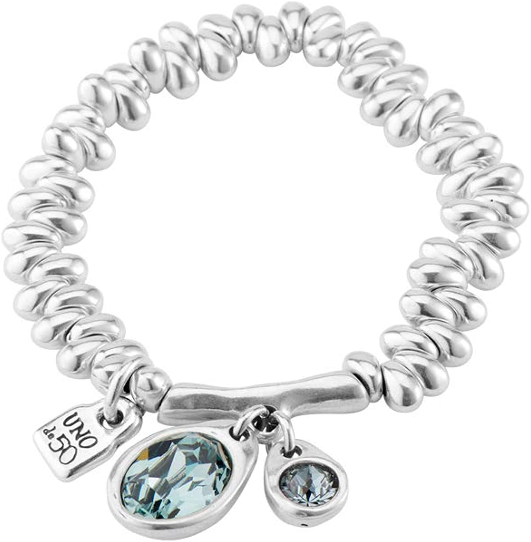 UNO DE 50 Pulsera PUL1803AZUMTL0M bañada en Plata con Cristales Azules.