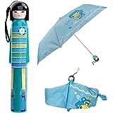 WINOMO Novità giapponese Kimono Doll stile Anti-UV antipioggia bottiglia ombrello pieghevole (azzurro cielo)