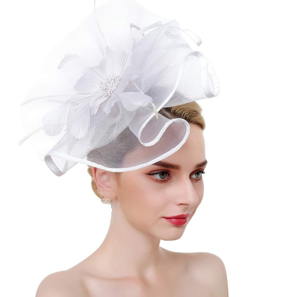 Women Flower Mesh Feathers Headband Cocktail Tea Party Hat Headwear Goosun little wedding hats Fascinators Hat Flower Mesh Ribbons Feathers on a Headband and a Forked Clip