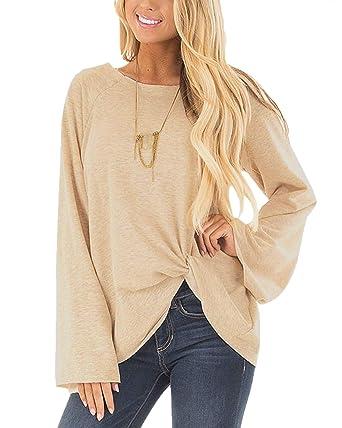 ec768bb4a7 YOINS Women Tops Elegant Plain Round Neck Long Sleeve Loose Asymmetric  Pullover T-Shirt Beige