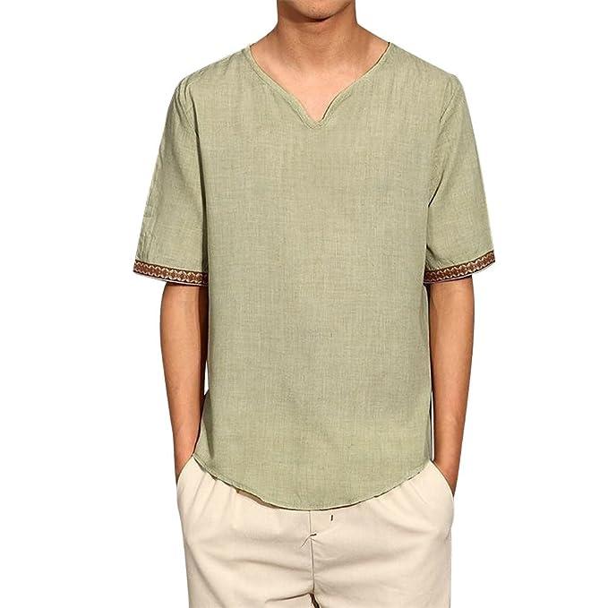 d87ef52a0cfba Herren T Shirt Top Sommer Basic V-Ausschnitt Kurzarm Shirt Loose Fit  Leinenhemd T-