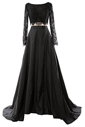MACloth Women 2 Piece Long Sleeve Lace Maxi Prom Dress 2017 Formal Evening Gown (6