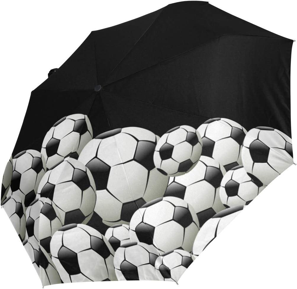 Black Soccer Football Sports Umbrella Women Girl Men Automatic Open Close Small Totes Rain Sunday Ladies 3 Folding