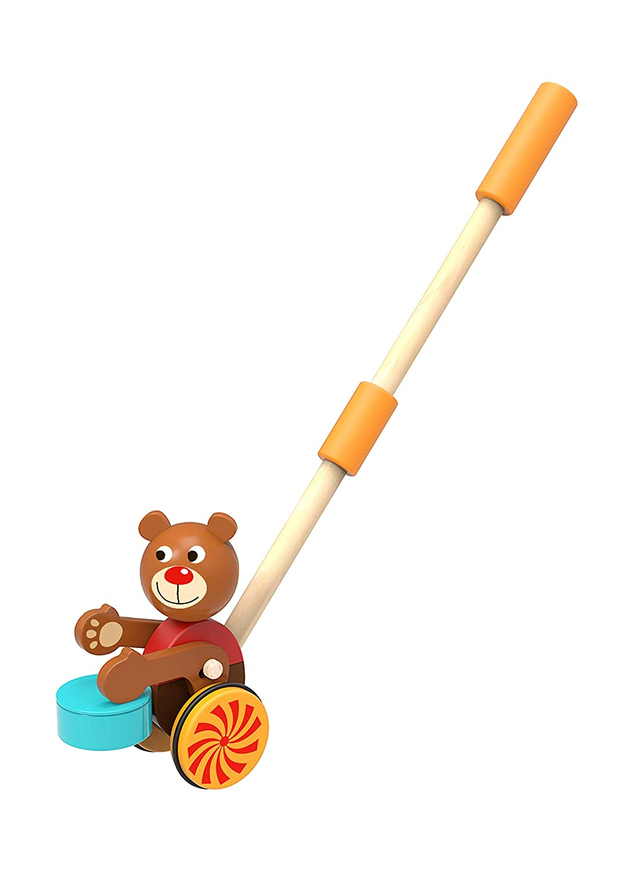 TOYSTERS プッシュアロン 幼児用ウォーキングベア | 木製スタンドアッププッシュ&プル動物のウォーカーおもちゃ | 男の子と女の子向けギフト 1歳以上 | PU810   B07LFL6ZZY