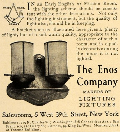 1906 Ad Enos Lighting Fixtures Wall Lamps Antiques - Original Print Ad from PeriodPaper LLC-Collectible Original Print Archive