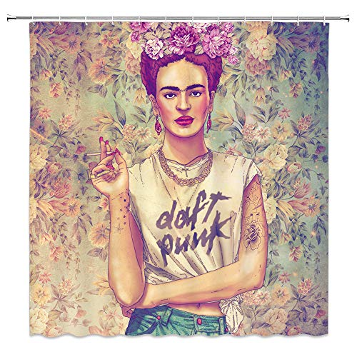 (jingjiji Woman Decor Shower Curtain Retro Frida Caro Mexican Girl Self Portrait Oil Painting Art Rose Garden Nostalgic Bathroom Decor Curtains Polyester Fabric Waterproof with Hook 70 X 70 Inch Brown)