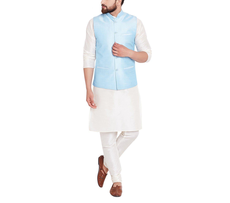 Sojanya Men's Dupion Silk Nehru Jacket Blue XX-Large Sky Blue