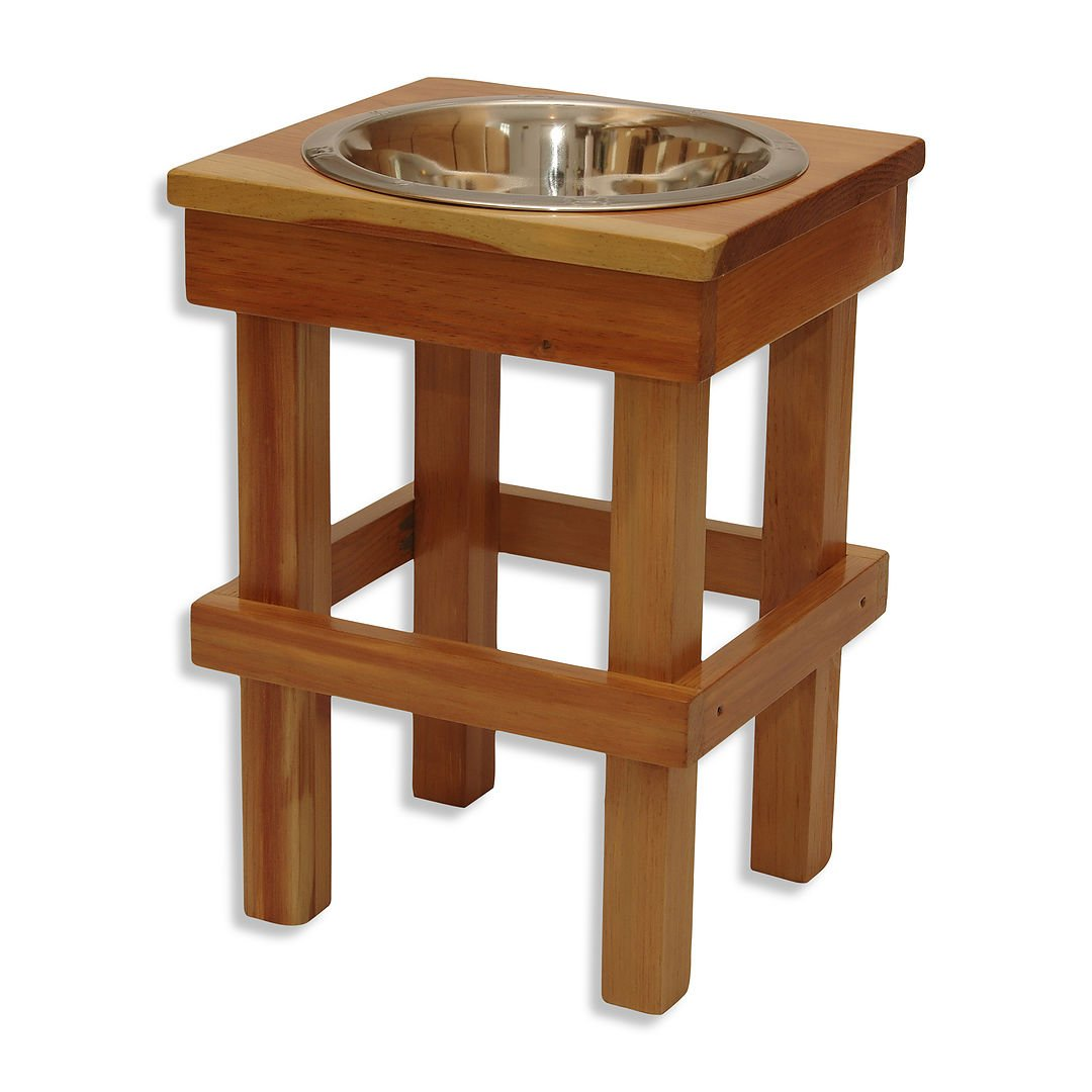 Raised Dog Bowl for Large Dogs, Pigs or Goats! 17'' Tall! Made in the USA (Natural)