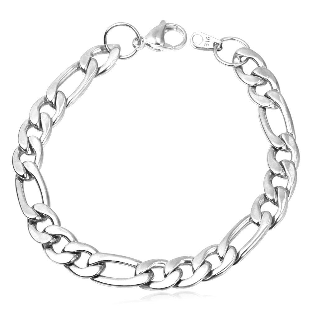 U7 Men 316L Stainless Steel 9mm Wide Figaro Chain Link Bracelet 21CM Long