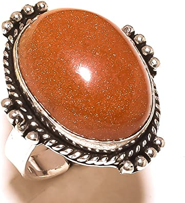 Black Sunstone Handmade Jewellry 925 Sterling Silver Plated 7 Grams Ring Size 8 US Awesome Sizable