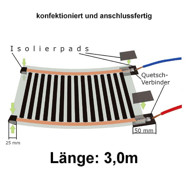 1m Elektrische Infrarot Heizung Heizfolie Heizmatte Breite 30cm 220V 65Watt//m