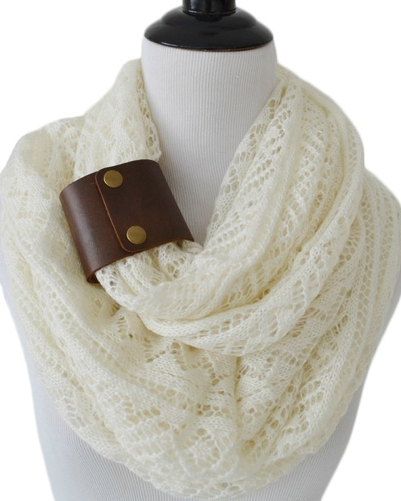 Peek A Boot Ivory Lexi Scarf with Leather Cuff