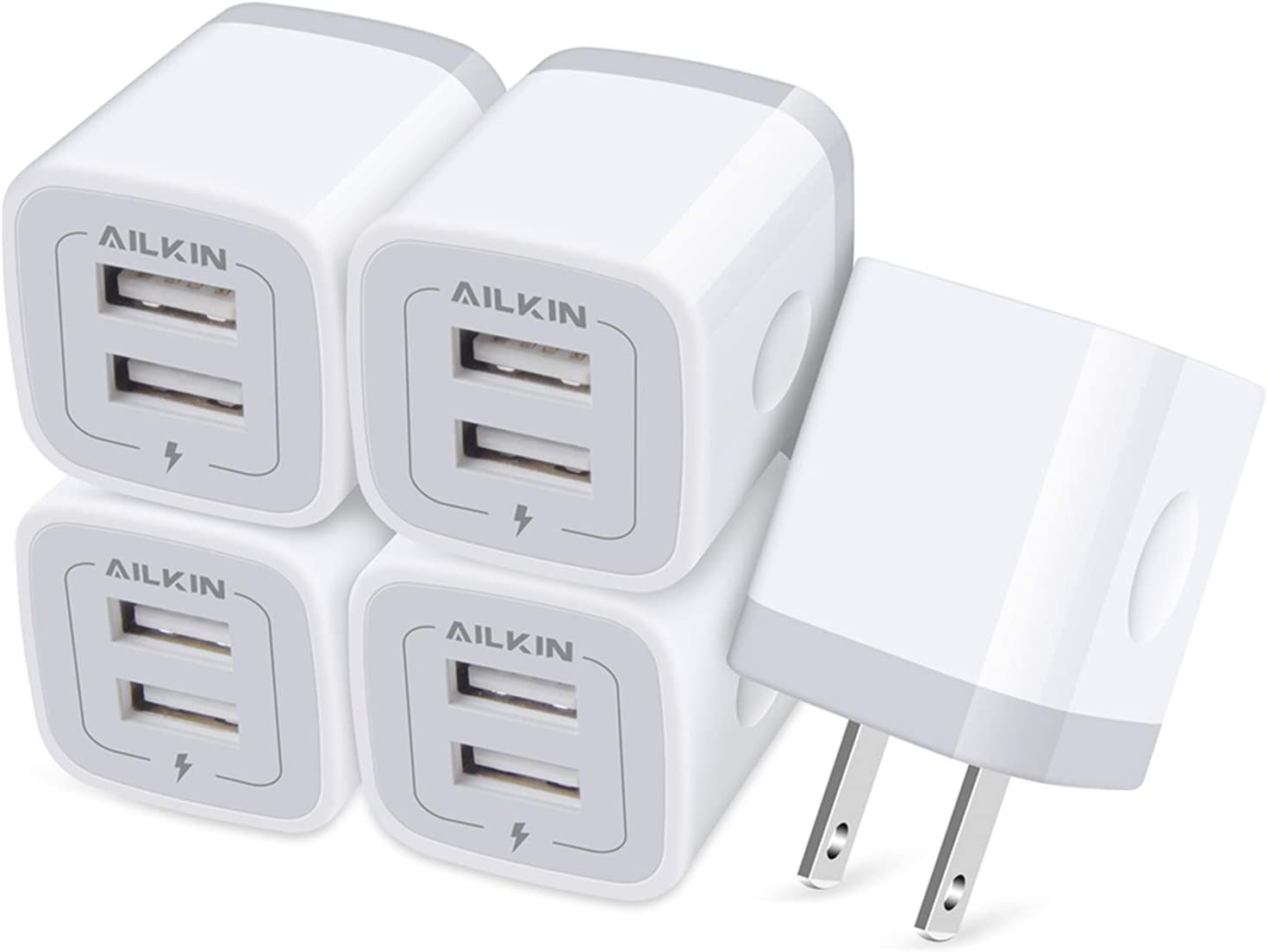 【5Pcs】 USB Plug, Wall Charger Fast Charging Block, Power Adapter Cube 2 Port Charge Travel Brick Cell Quick Chargers Box cargador for iPhone 12 SE, 11Pro Max, Samsung Galaxy, LG, iPad, X, 8, 7,6 Plus