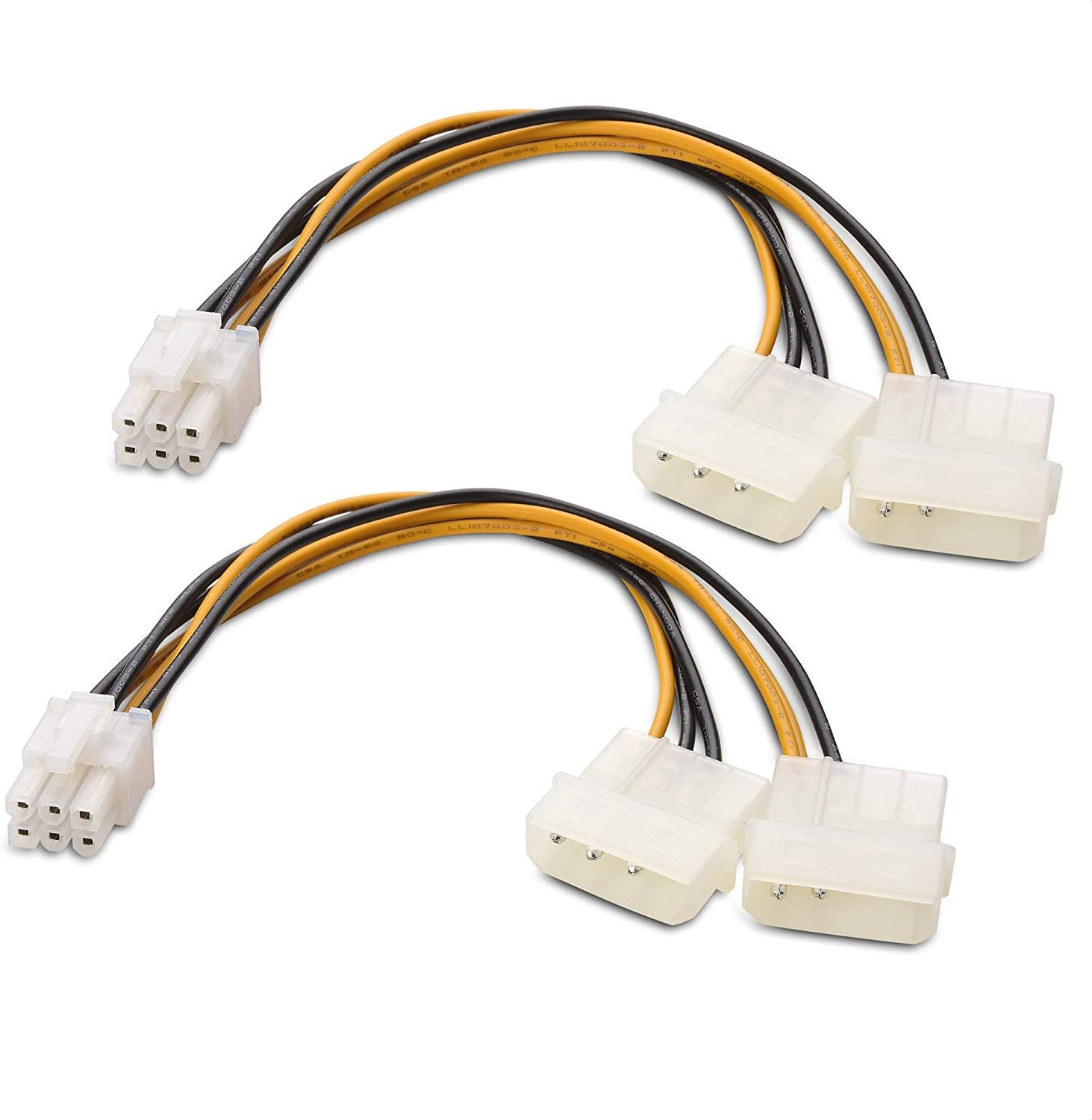 Cable Matters 2-Pack 6 Pin PCIe Splitter Cable PCIe Power Splitter 6 Inches