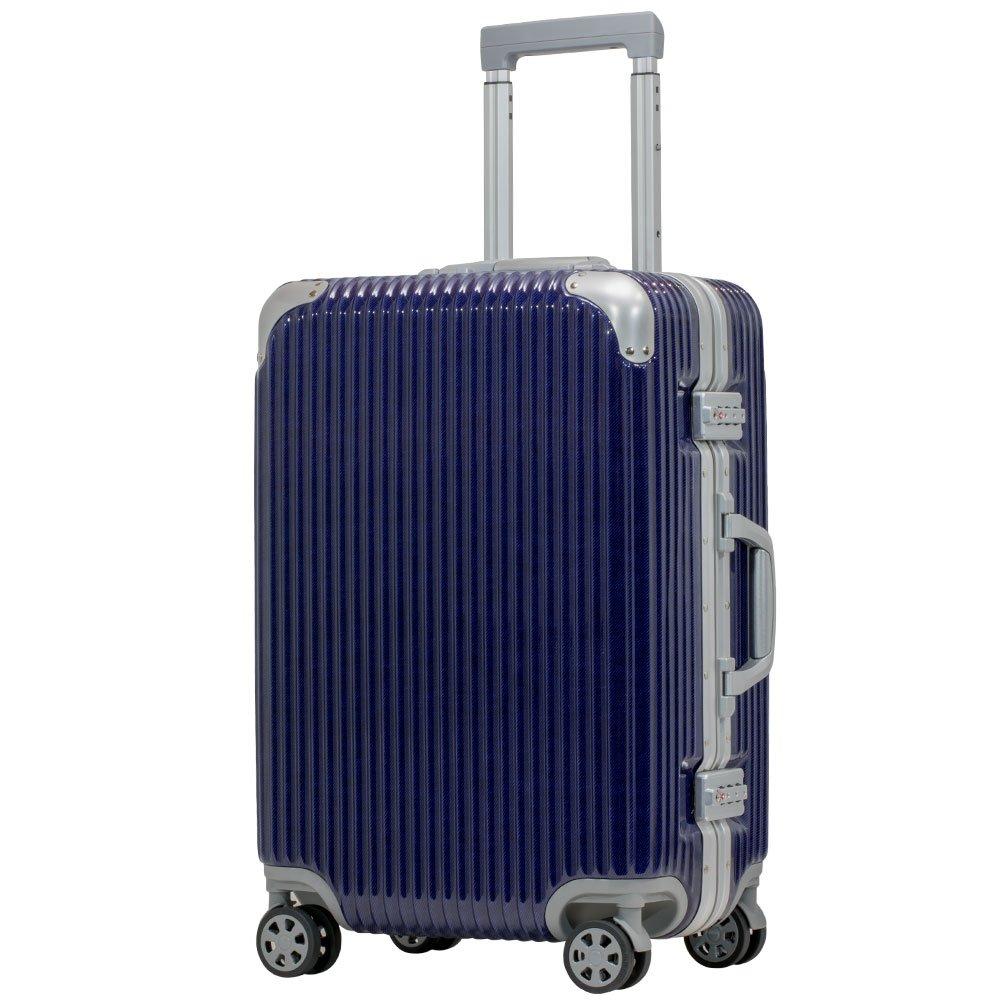 スーツケース アルミフレーム 機内持込~大型 軽量 超消音 ダブルキャスター 8輪 TSA キャリーケース キャリーバッグ B07CYSQPSS M(3~5泊)-50L|ネイビー/デニム ネイビー/デニム M(3~5泊)-50L