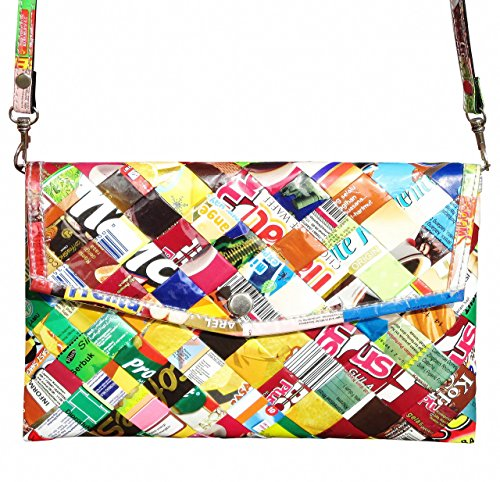 (Clutch purse using candy wrappers - FREE SHIPPING - upcycled eco friendly vegan recycled reclaimed salvaged handmade unique gift wallet evening wedding slim shoulder bag sweets gum wrapper)