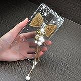 LG G4 Case, JCmax Lovely Luxurious Handcraft Bling Diamond Hard Back Cover [Non Slip] [Perfect Fit] Transparent Case High Impact Plasetic Skin for LG G4 -Butterfly