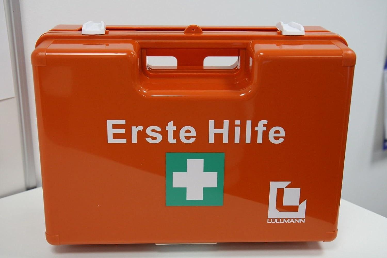 Erste-Hilfe-Koffer fü r Betriebe DIN 13157 PREMIUM LÜ LLMANN Verbandkasten + Wandhalter orange 620139D Lüllmann 620150