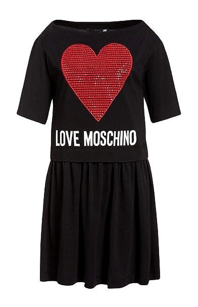 best service 96157 268ec Love Moschino Abito Donna B0001M3517 Black ss19: Amazon.co ...