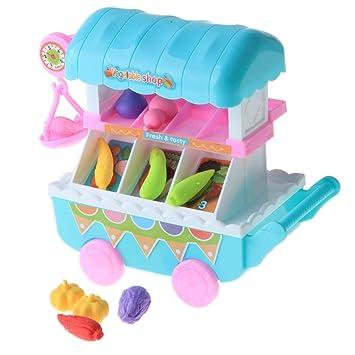 KESOTO 10 Unids Juguete de Carrito de Caramelos/Verduras de Simulación Accesorios de Casa de Muñecas Regalo de Cumpleaños para Niños - Carrito de Vegetales ...