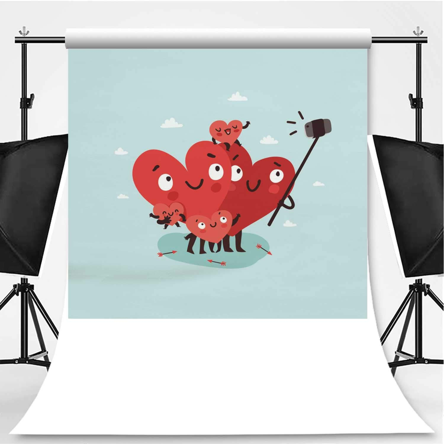 Family Selfie Theme Backdrop Photography Backdrop for Pictures,Hearts Characters as Symbols of Love and Family Making Selfie with Smartphone and Selfie Stick,6.5x10ft by YOLIYANA