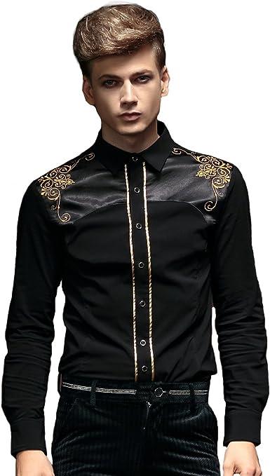 FANZHUAN Botones Negros Camisa Camisas Manga Larga Hombre Camisa Negra Hombre XXXL Camisas Slim Fit: Amazon.es: Ropa y accesorios