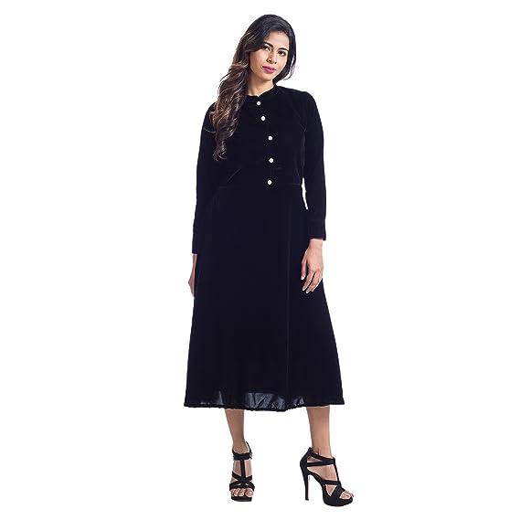 Mamosa Black Velvet Full Sleeve Stitched Midi Dress for Womens Girls ...